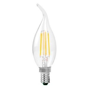 LED lámpa , égő , filament , gyertya , láng forma ,  E14 foglalat , 4 Watt , 300° , meleg fehér
