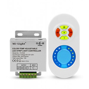 Rádiófrekvenciás távirányító , CCT szalagot vezérelni képes színhőmérséklet dimmer és vezérlő egy csomagban , 433 MHz