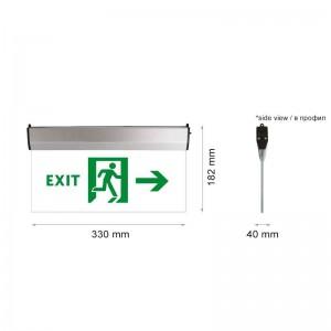 LED vészkijárat jelző átlátszó üveg EXIT és JOBBRA piktogram felirattal 3W 2óra IP44