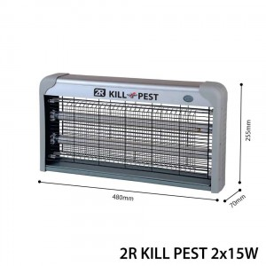 2R Kill Pest Rovarölő Lámpa 2x15W 230V Acélszürke