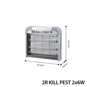 2R Kill Pest Rovarölő Lámpa 2x6W 230V Acélszürke