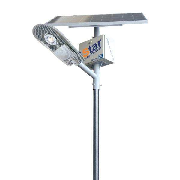 iStar Granada SB Solar Utcai Lámparendszer 10W 5000K 1400lm 33Ah 4 méteres oszloppal és 50Wp napelemmel