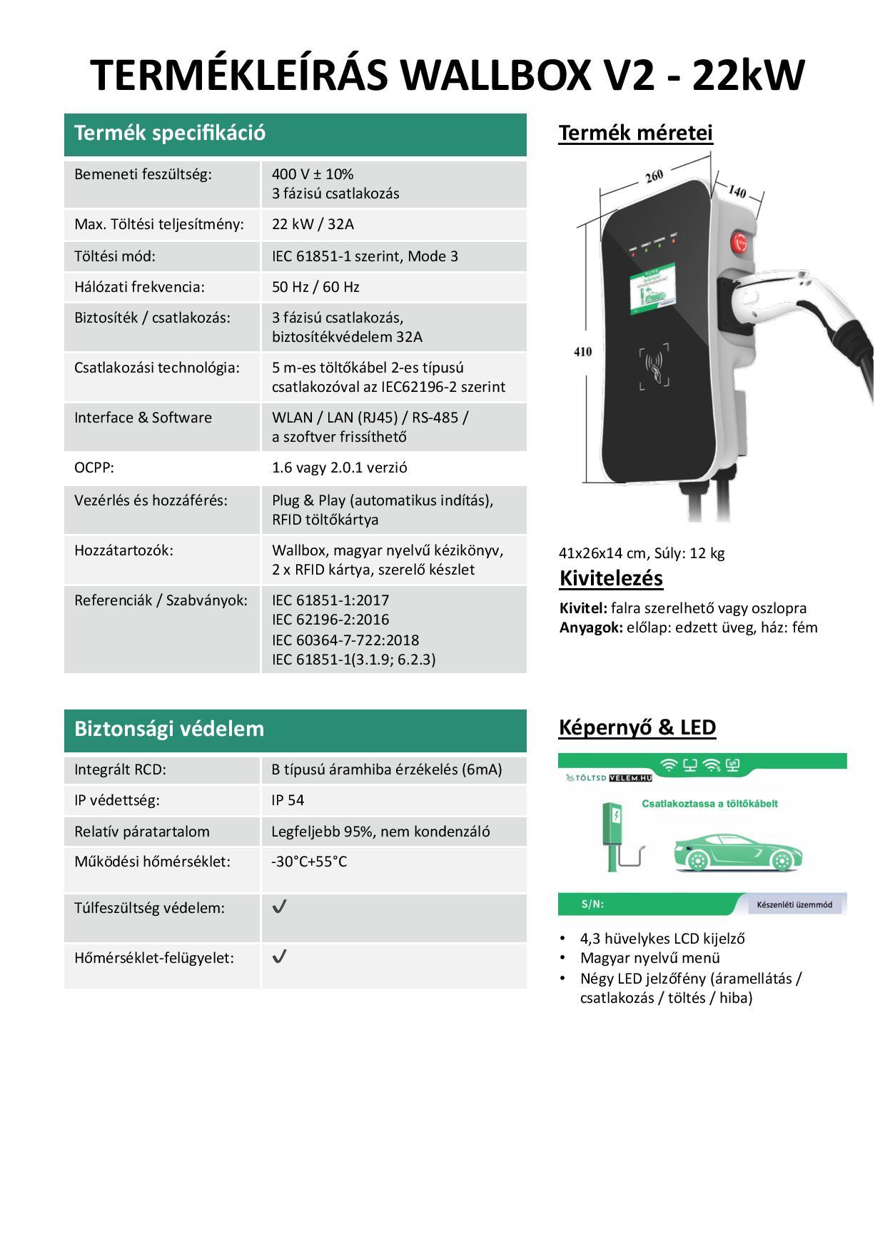 Daheim Laden Fali Elektromos Autó gyorstöltő 22KW 3F LCD RFID LAN WiFi