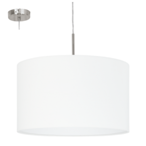textil, függesztett mennyezeti lámpa E27 60W 38cm fehér Pasteri