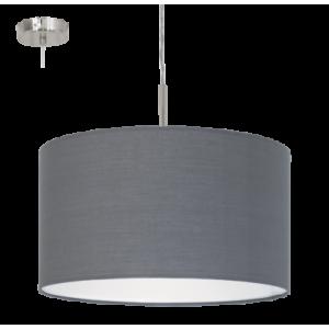 textil, függesztett mennyezeti lámpa E27 60W 38cm szürke Pasteri