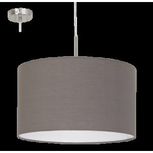 textil, függesztett mennyezeti lámpa E27 60W 38cm szürkésbarna Pasteri
