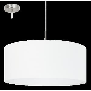 textil, függesztett mennyezeti lámpa E27 60W 53cm fehér Pasteri