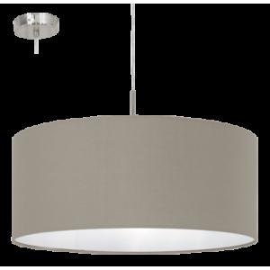 textil, függesztett mennyezeti lámpa E27 60W 53cm szürkésbarna Pasteri