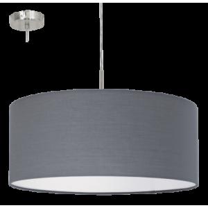 textil, függesztett mennyezeti lámpa E27 60W 53cm szürke Pasteri
