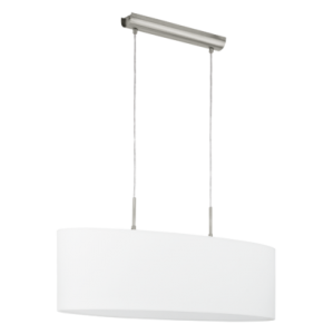 textil, függesztett mennyezeti lámpa E27 2x60W 75cm fehér Pasteri