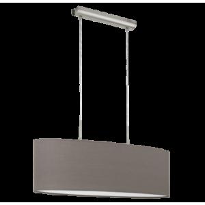 textil, függesztett mennyezeti lámpa E27 2x60W 75cm barna Pasteri