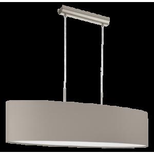 textil, függesztett mennyezeti lámpa E27 2x60W 100cm szürkésbarna Pasteri
