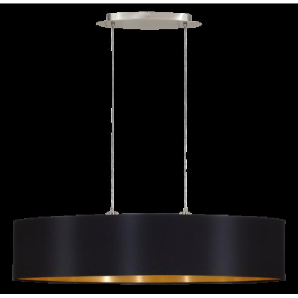 textil, függesztett mennyezeti lámpa E27 2x60W 100cm fekete Maserlo