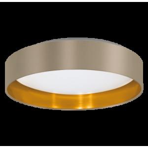 textil mennyezeti lámpa LED 16W 40,5cm szürkésbarna/arany Maserlo