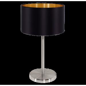 textil asztali lámpa E27 60W fekete Maserlo