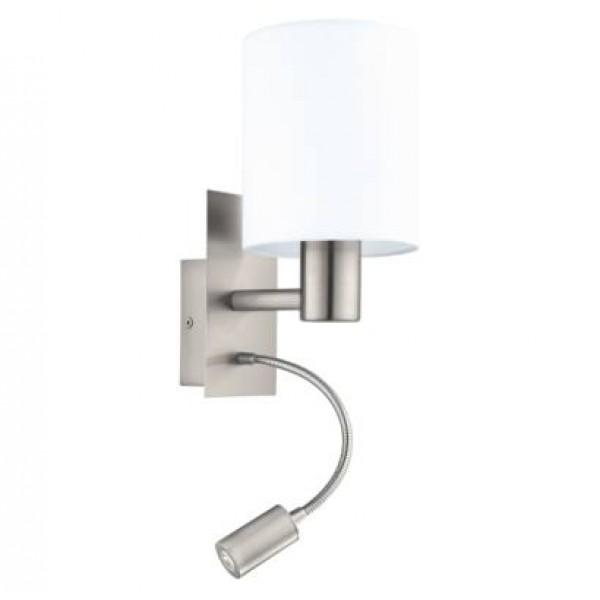 fali lámpa E27 40W+3,5W LED matt-nikkel/fehér Pasteri