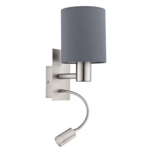 fali lámpa E27 40W+3,5W LED matt-nikkel/szürke Pasteri