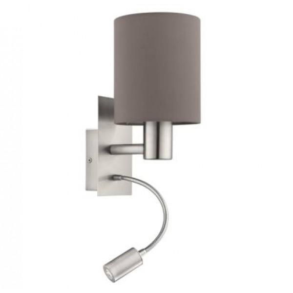 fali lámpa E27 40W+3,5W LED matt-nikkel, antracit Pasteri