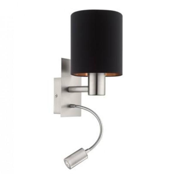 Fali lámpa E27 40W+3,5W LED fekete/réz Pasteri