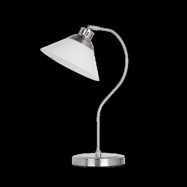 Molly nikkel asztali lámpa fehér búrával, 1xE27, IP20
