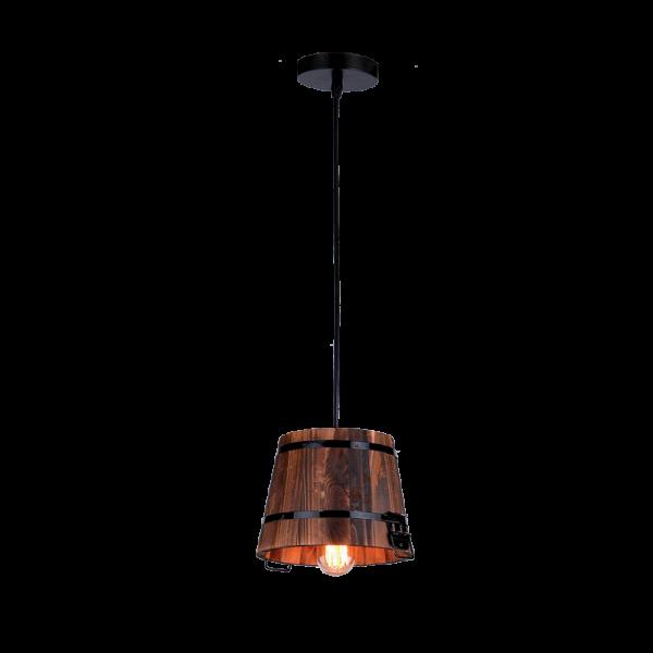 Pail fekete fém és fa vintage csillár, 1xE27, IP20
