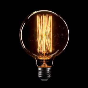 Vintage izzó, melegfehér fény, 60W, E27, G125