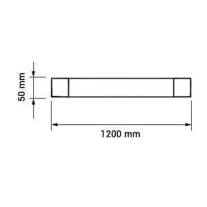 LED por és vízvédett bútorvilágítás, hideg fehér, 120cm, 40W, IP65