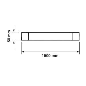 LED por és vízvédett bútorvilágítás, hideg fehér, 150cm, 50W, IP65