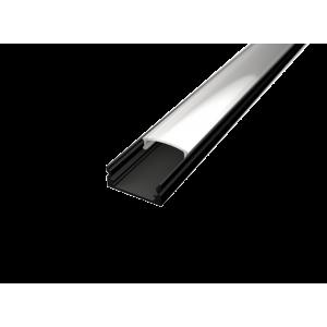 U alakú LED profil SF1B fekete színű eloxált opál fedővel