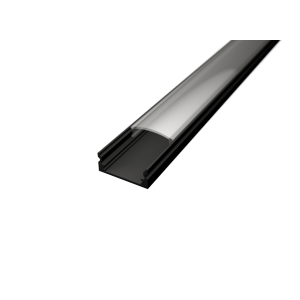 U alakú LED profil SF1B fekete színű víztiszta fedővel