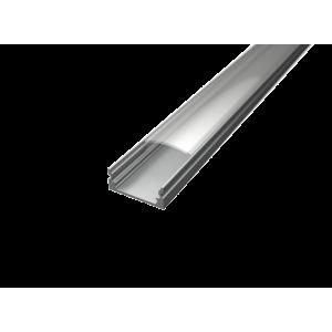 U alakú LED profil SF1S ezüst színű eloxált víztiszta fedővel