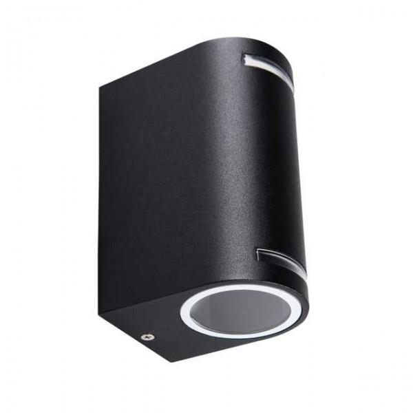 Novia fekete oldalfali LED kerti lámpa, dupla, GU10