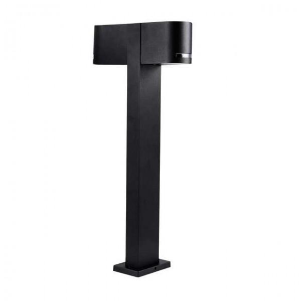 Novia fekete oszlopos LED kerti lámpa, dupla, GU10