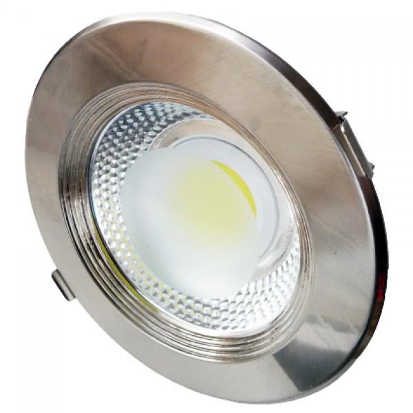 LED panel , mélysugárzó , 30 W , süllyesztett , kerek , meleg fehér , inox keret