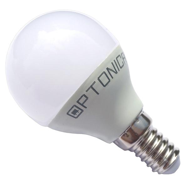 LED lámpa, égő, E14 foglalat, P45 körte forma, 6 watt, 240°,  hideg fehér - Optonica
