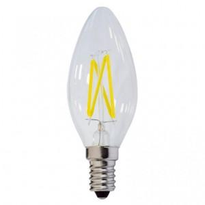 LED lámpa égő, E14 foglalat, gyertya forma, 4 watt, Filament, hideg fehér