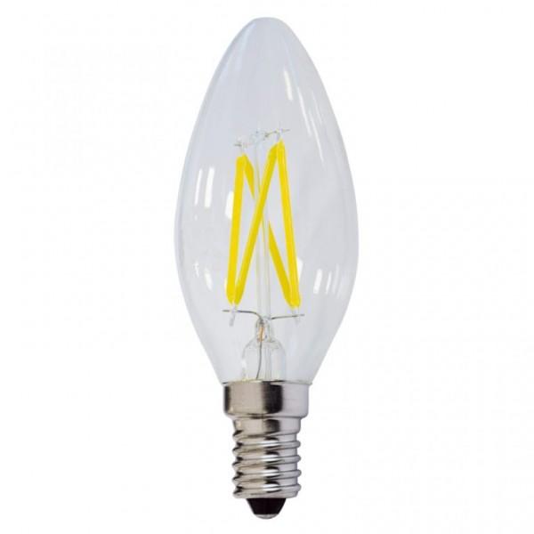 LED lámpa égő, E14 foglalat, gyertya forma, 4 watt, Filament, meleg fehér