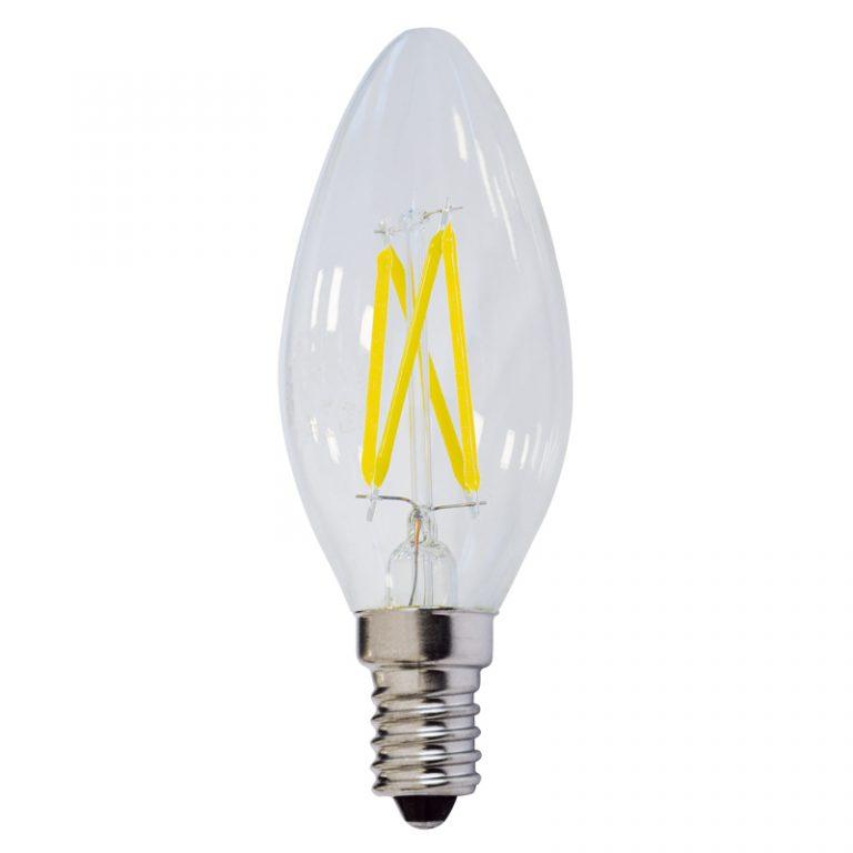 LED lámpa égő, E14 foglalat, gyertya forma, 4 watt, Filament, természetes fehér