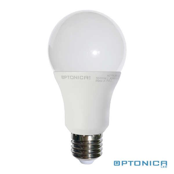 LED lámpa, égő, E27 foglalat, A60 körte forma, 7watt, 270°, hideg fehér - Optonica
