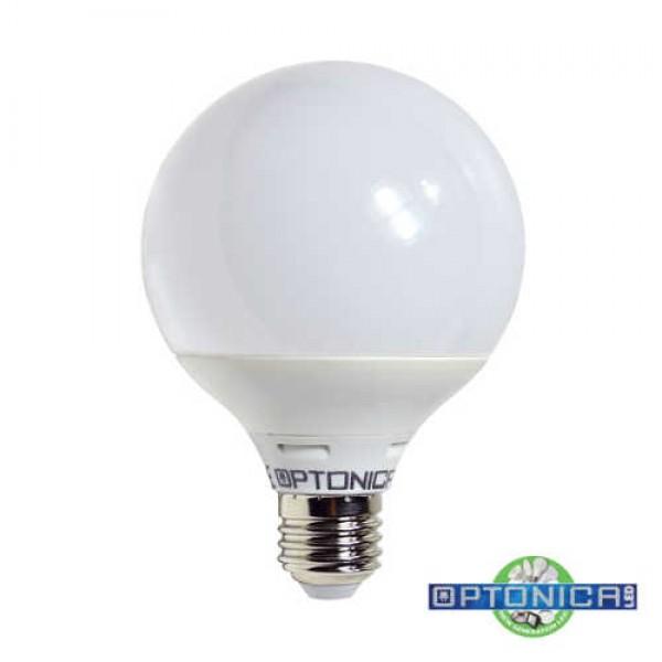 LED lámpa, égő, E27 foglalat, G95 nagy gömb forma, 12 watt, 270 fok, meleg fehér - Optonica