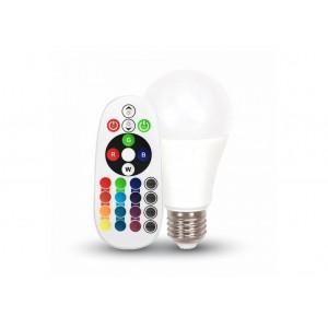 Távirányítós RGB+fehér fényű LED lámpa E27 6 Watt A60 körte forma