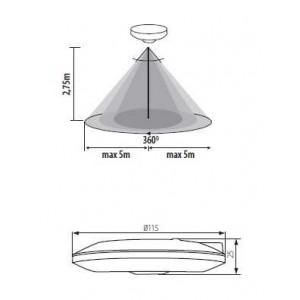Merge O mozgásérzékelő 360° 5 m, süllyeszthető, Kanlux