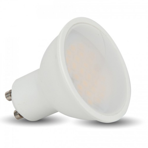 LED lámpa , égő , szpot , GU10 foglalat , matt üveg előlappal , 110° , 5 Watt , meleg fehér