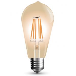 LED lámpa , égő , Edison izzószálas hatás , körte , E27 foglalat , 4 Watt , borostyán sárga , dimmelhető