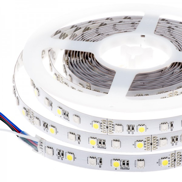 LED szalag , 5050 , 60 led/m , 10,8W/m , RGBWW , 10 mm , WW = meleg fehér