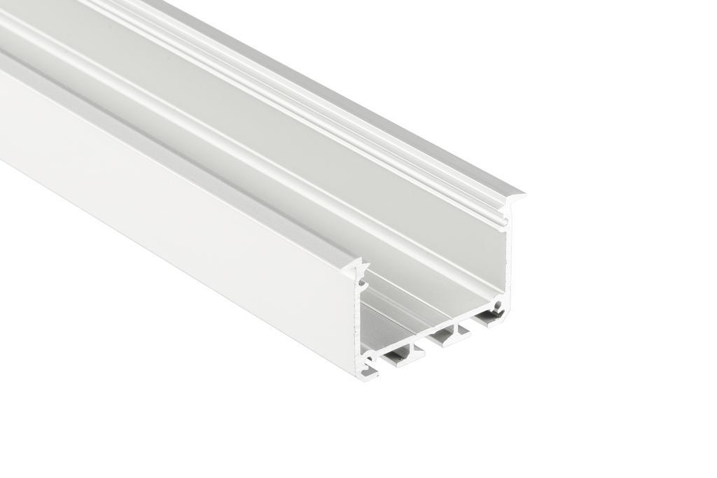 Alumínium profil LED szalaghoz , süllyeszthető , ezüst eloxált , széles , INSO , VÍZTISZTA fedővel
