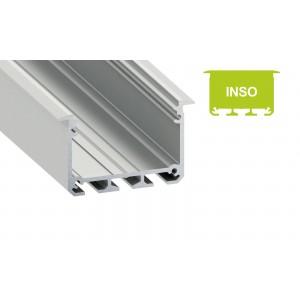 Alumínium profil LED szalaghoz , süllyeszthető , ezüst eloxált , széles , INSO , MATT fedővel