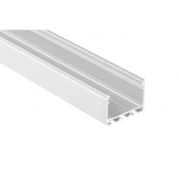 Alumínium profil LED szalaghoz , ezüst eloxált , széles , ILEDO , MATT fedővel
