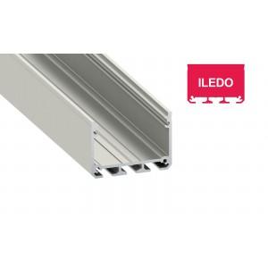 Alumínium profil LED szalaghoz , ezüst eloxált , széles , ILEDO , VÍZTISZTA fedővel