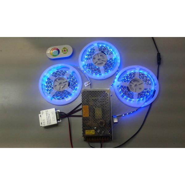Szett , HIGH-END , 15 m 60 ledes RGB szalag + Vezérlő + Érintős távirányító + 240 Wattos tápegység + kellékek